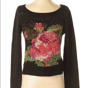 FREE PEOPLE Floral Wool-Blend Pullover Sweater